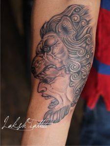 Lion mandala tattoo By Laksh Tattoo Studio Art by Mahesh Ogania.