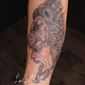 Lion Tattoo by Laksh Tattoo Studio calangute Goa.