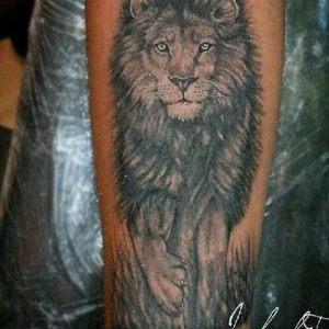 Lion Tattoo photorealistic art style