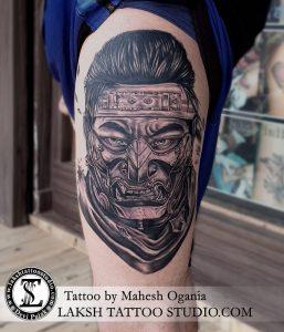 Samurai Portrait Tattoo by Mahesh Ogania Laksh Tattoo Studio Goa