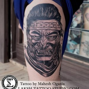 Samurai Portrait Tattoo, by Mahesh Ogania